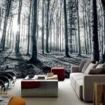 black white forest wall mural