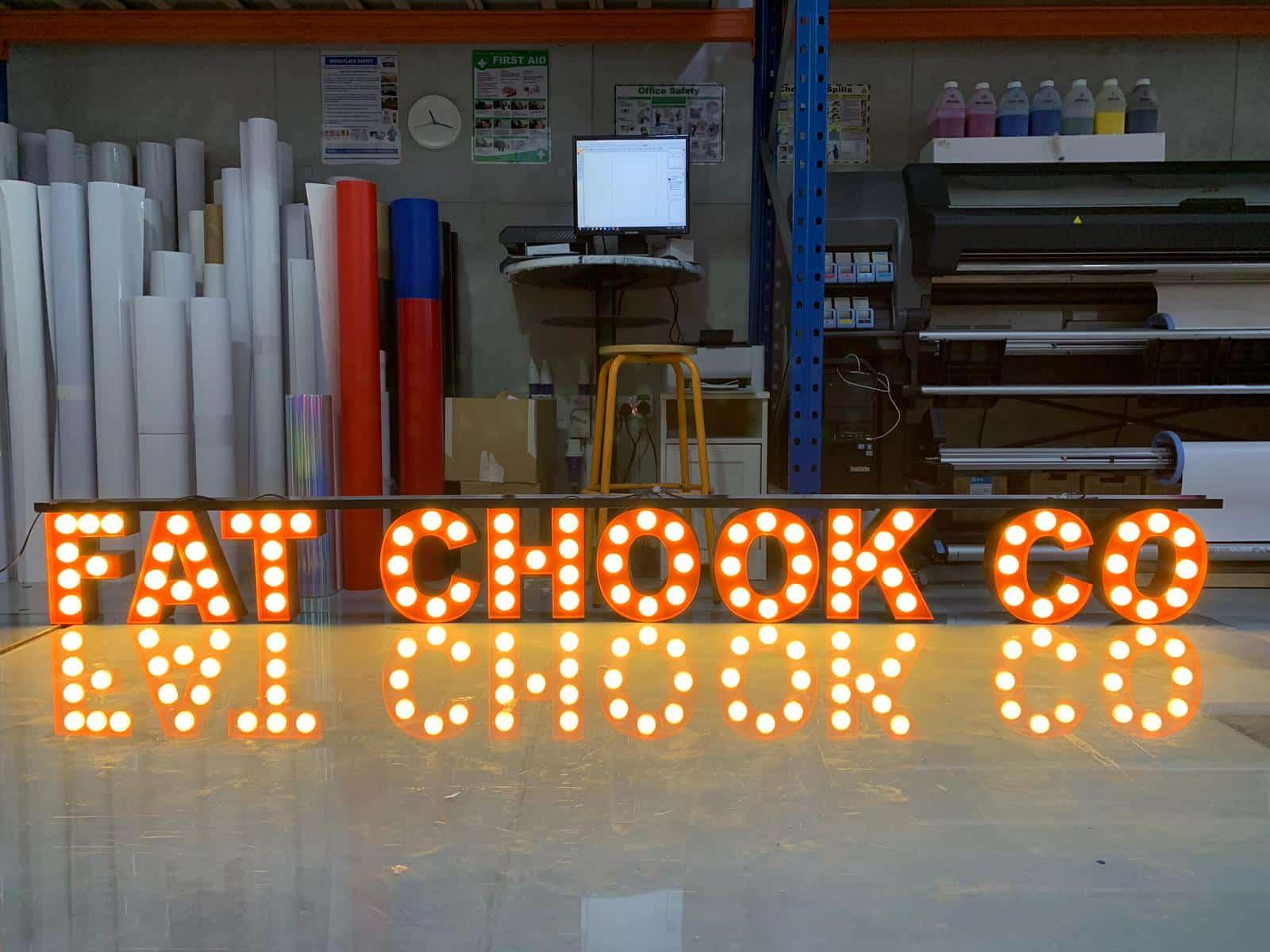 LED bulb box up lettering
