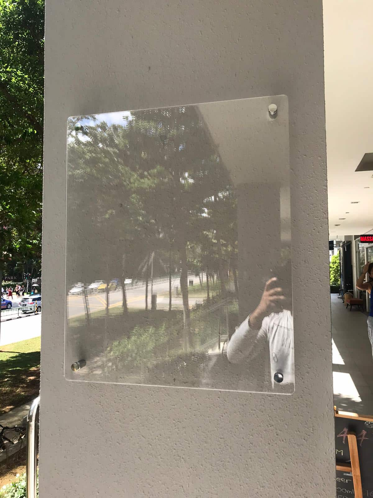Acrylic Sandwich Board With Stainless Steel Spacer