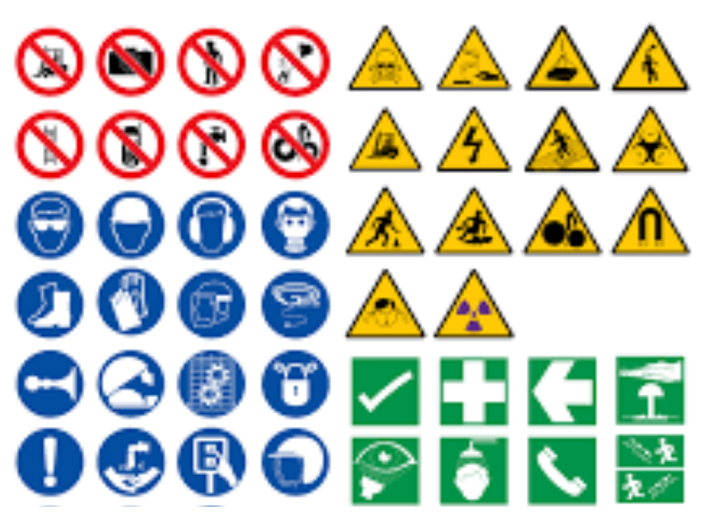What are four types of safety signs